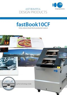 astBook10CF by Imaging Solutions AG fastBook10CF is a fully automatic book block maker which produces LayFlat book blocks from single sheets. It can make photo books not only by gluing paper back to back, but also with inserting cardboard between the sheets. It automatically feeds the single sheets and cardboards into the machine, creases the middle of the sheets, folds, presses and assembles them one by one with hot melt glue.