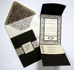 damask pocketfold wedding invitations - Google Search