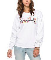 Diamond Supply Co. Neon Floral Box Logo Crew Neck Sweatshirt