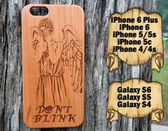 Weeping Angel, iPhone 6/6+ 5/5s/5c 4/4s, Samsung S6/S6e S5 S4, Laser Engraved Genuine Wood Case, Doctor Who