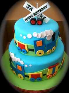 Double layer colorful train cake for birthday party