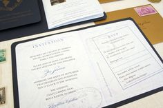 Custom Travel Passport themed invitation for a Bat Mitzvahs or Bar Mitzvahs by Honey Paper. www.honey-paper.com