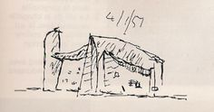 Drawing Architectural Sketch made by Le Corbusier of his chapel in Ronchamp. Architecture Drawings, Modern Architecture, Amsterdam Architecture, Building Drawing, Model Sketch, Concept Diagram, Hand Sketch, Conceptual Design, Love Drawings