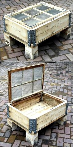 Pallet Furniture Projects pallet table with storage - Every person thinks differently, that's why every single individual who invests time in creating the items using the wooden pallets end up in getting something. Wooden Pallet Table, Wooden Pallet Projects, Wooden Pallet Furniture, Wooden Pallets, Wooden Diy, Pallet Tables, Pallet Wood, Outdoor Pallet, Pallet Patio