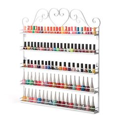 Dazone DIY Mounted 5 Shelf Nail Polish Wall Rack Organizer Holds 100 Bottles Nail Polish or Essential Oils White * Check this awesome product by going to the link at the image. (This is an affiliate link)