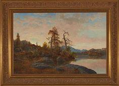 """HANS FREDRIK GUDE CHRISTIANIA 1825 - BERLIN 1903  """"Skoglandskap med innsjø"""" 1849 Olje på lerret, 43x66 cm Signert og datert nede til venstre: HFG 1849"""