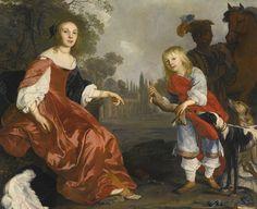 1640s Nicholas van Helt (Dutch artist, 1614-1669) Portrait of two Children as Hunters In a Garden