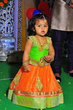 Orange Light Green Lehenga by Mugdha - Indian Dresses Baby Lehenga, Green Lehenga, Kids Lehenga, Baby Girl Party Dresses, Dresses Kids Girl, Kids Outfits, Baby Dress, Baby Outfits, Frocks For Girls