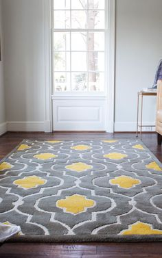 Gorgeous floor rug, yellow  gray rug, Wayfair  OMG CAN I PLEASE HAVE THIS!?