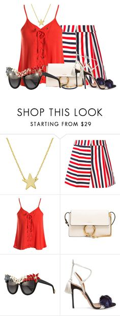 """""""Red White and Blue"""" by kimzarad1 ❤ liked on Polyvore featuring Amanda Rose Collection, Thom Browne, Sans Souci, Chloé, Anna-Karin Karlsson, Aquazzura, Giles & Brother, Summer, sunglasses and redwhiteandblue"""