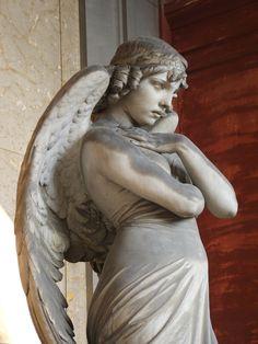 Statue of angel - Giulio Monteverde, Oneto family monument, Monumental Cemetery of Staglieno, Genova, Italy.