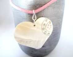 Pink Suede Necklace White Heart Shell Pendant by YoursTrulli, $14.00