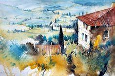 Toskana - Heinz Schweizer Architecture Old, Classical Art, Watercolor Artists, Medium Art, Landscape Art, Heinz, Art Projects, Inspiration, Water Colors
