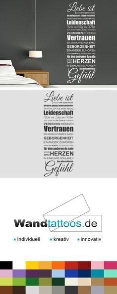 Wandtattoo Spruchband Liebe ist als Idee zur individuellen Wandgestaltung. Einfach Lieblingsfarbe und Größe auswählen. Weitere kreative Anregungen von Wandtattoos.de hier entdecken!