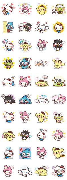 The popular characters from the Sanrio Character Ranking are back! Use these adorable stickers and expressions to bring smiles to everyone! Kawaii Doodles, Kawaii Chibi, Kawaii Art, Sanrio Characters, Cute Characters, Kawaii Stickers, Cute Stickers, Kawaii Drawings, Cute Drawings