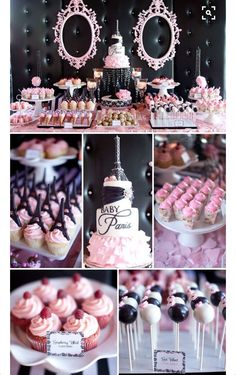 This idea could work for a baby girl shower or a baby girls birthday party. Paris theme is adorable and the dessert table looks great. Idee Baby Shower, Girl Shower, Baby Shower Food For Girl, Baby Shower Sweets, Candy Table, Candy Buffet, Lolly Buffet, Dessert Buffet, Dessert Bars