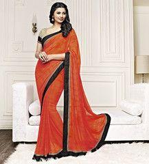 Orange Color Georgette Party Wear Sarees : Prunit Collection  YF-37789