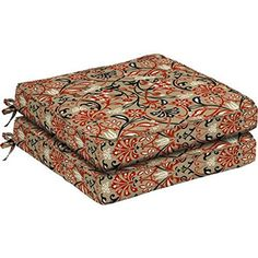 SET OF 2 Dining Seat Outdoor Cushions 21L x 21W x 45H Box Edge and Single Welt Polyester fabric in Tulip Scroll by Comfort Classics Inc -- Read more  at the image link.