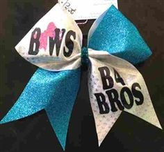 Bows B4 BROS Blue Glitter and White Holographic Dot Cheer Bow    $15