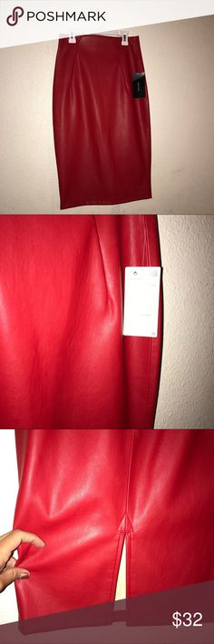 Red leather skirt Size small red Zara faux leather skirt. Small slit in back. Zipper in the back. New with tags attached. Never worn. Zara Skirts Pencil