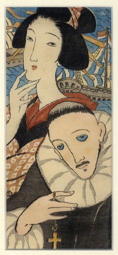 竹久夢二木版画額 「女人伴天連 麻利亜観音」 Japanese Prints, Japanese Art, Art Occidental, Paisley Park, Retro Ads, Heart Art, Gravure, Face Art, Illustration Art