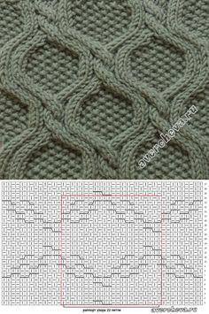 узор 376 ромбы с жемчужным узором | каталог вязаных спицами узоров