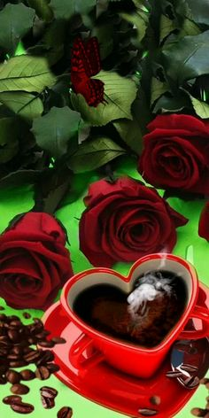 Morning Coffee Images, Good Morning Coffee Gif, Good Morning Beautiful Pictures, Cute Love Pictures, Good Morning Flowers, Hug Gif, Gif Animé, Beautiful Rose Flowers, Beautiful Gif