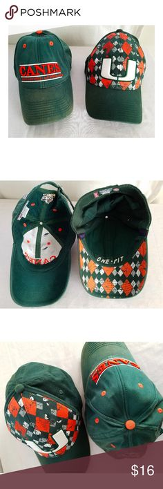 Lot of 2 University of Miami Hurricanes Hats Available is a lot of 2 University of Miami Hurricanes hats.   They are both somewhat distressed; the Canes hat with the script logo is more distressed then the other with the patterned front. There is a little bit of corrosion on the metal band in the back - this hat is adjustable.   The other hat with the patterned front is fitted, and shows much less signs of wear than the other. Both hats have been washed recently and are clean.   Comes from a…