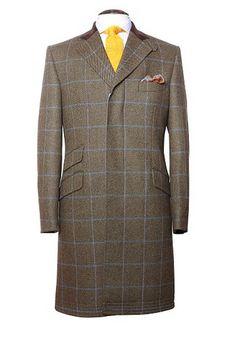 Cover Coat, trois boutons sous patte,poches en biais et poche ticket avec col en velours chocolat. Tissu en Tweed à carreaux, bleu canard et ciel sur fond vert, laine peignée! #WicketSoBritish