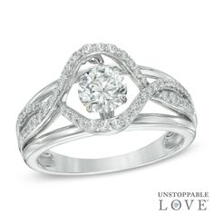 Unstoppable Love™ 6.0mm Lab-Created White Sapphire Swirl Ring in Sterling Silver - Size 7 - View All Rings - Zales