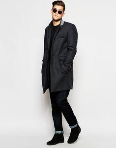Image 4 ofASOS Wool Overcoat In Dark Grey