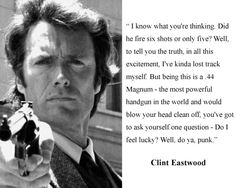 """Clint Eastwood Dirty Harry """" do I Feel Lucky"""" Quote 8 x 10 Photo Picture H1 