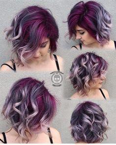 Gorgeous colorful hair || deep purple lavender silver gray hair color
