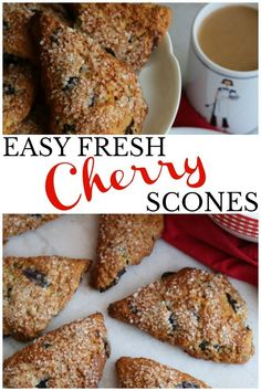French Delicacies Essentials - Some Uncomplicated Strategies For Newbies A Recipe For Fresh Cherry Scones That Looks Pretty, Tastes Good, Holds Together Without Being Too Dense And Please, Oh Please, Let The Cherries Be The Star Cherry Recipes, Fruit Recipes, Brunch Recipes, Bread Recipes, Real Food Recipes, Cherry Desserts, Brunch Ideas, Dinner Ideas, Breakfast Recipes