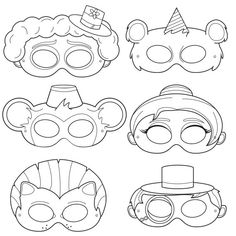 Crafts for kids, kids mask, Clown Masks, Circus Acts DIY Black and White Printable Party Masks