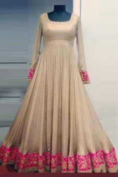 This Exclusive Anarkali Suit Is An Ultimate Party Wear Collection With The Mesmerizing Colours Of Off White With The Artistic Embroidery , Leave No Stone Unturned And Be At Your Fashionable Best. Party Wear Indian Dresses, Gown Party Wear, Indian Gowns Dresses, Net Dresses, Ikkat Dresses, Flapper Dresses, Salwar Designs, Kurti Designs Party Wear, Frock Suit Anarkali