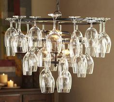 Wine Glass Rack Chandelier | Pottery Barn - Saw this at a store downtown Coeur d'Alene, the glasses can just go in the dishwasher to clean the chandelier!