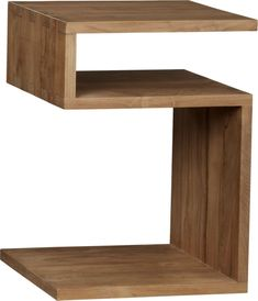 "Squared off ""S"" curve of solid teak in a striking design open to possibilities.  Set straight up, it's a geometrically modern side table or night stand with an ample open shelf.  Set on its side, it transforms into a magazine rack paired with a teak tabletop.  Box joints at the corners add strength and attractive detail. Solid teakClear topcoatDust with soft dry clothTeak oil not recommended for this pieceMade in Indonesia."