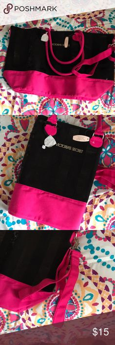 Victoria's Secret tote Beautiful tote. Can be used for weekend bag/beach day.  -zip closure -can be used as tote  -has removable additional strap for crossbody -Beautiful sequins  -brand new never used Smoke and pet free Victoria's Secret Bags Totes