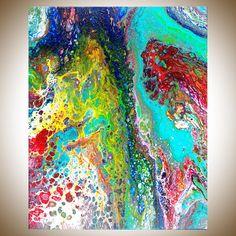 Abstract painting Acrylic fluid painting fluid art large