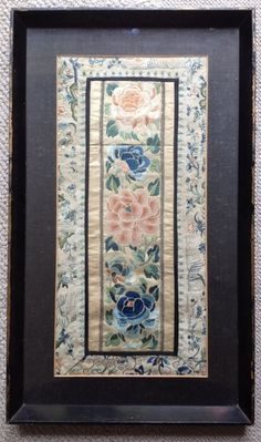 Antique Chinese Forbidden Embroidered 18th Silk Panel Sleeve Set In Glazed Tray