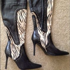 Colin Stuart Leather Zebra Print Studded Boots I love these boots! They were only worn a couple of times for a few hours. They are suede (or similar) material below the ankle & above is leather. They look super cute with skinny jeans and a cute sweater dress them up or down! I purchased from Victoria's Secret. Colin Stuart Shoes