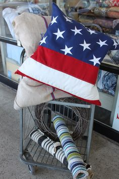 Flag pillow at BLue Springs Home. Perfect for 4th of July!