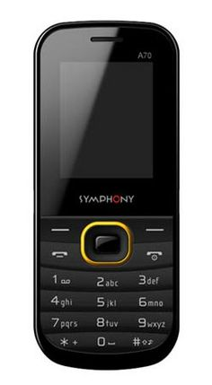 """Symphony A70 http://www.bdcost.com/symphony+a70 Memory64Mb+32Mb Memory Card SlotMicroSD card slot ( Expandable up to 2GB) StatusAvailable Display1.77"""" TFT JavaNo Other Features Audio & Call recorder, Torchlight, Dual T-Flash slot"""