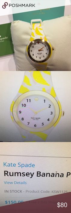 ♠️♠️NIB KATE SPADE BANANA PRINT WATCH ⌚️ Adorable Kate spade silicone banana print buckled watch live life colorfully sleek designtwo year warranty scratch resistant kate spade Accessories Watches