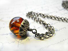 vintage amber acorn necklace