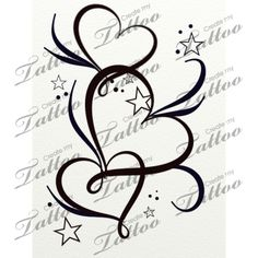 Marketplace Tattoo hearts stars and filigree #20764 | CreateMyTattoo.com