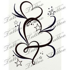 Marketplace Tattoo hearts stars and filigree #20764 | CreateMyTattoo.com