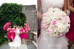 pink parasols.  fun props for bridesmaids! // © gntphoto.com