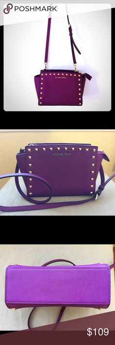 Michael Michael Kors Selma Medium Stud Messenger Used, purple-fuchsia color, good condition, shows color wear off on studs, saffiano leather, adjustable strap, nice bag for spring& summer MICHAEL Michael Kors Bags Crossbody Bags